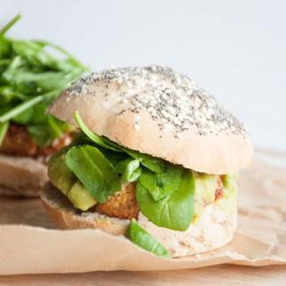 Vegan Falafel Burger with avocado sauce, spinach & homemade burger buns
