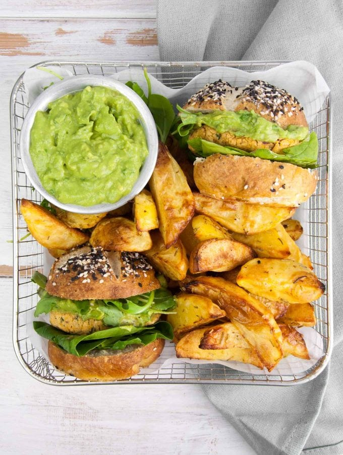 Vegan Falafel Burger with avocado sauce