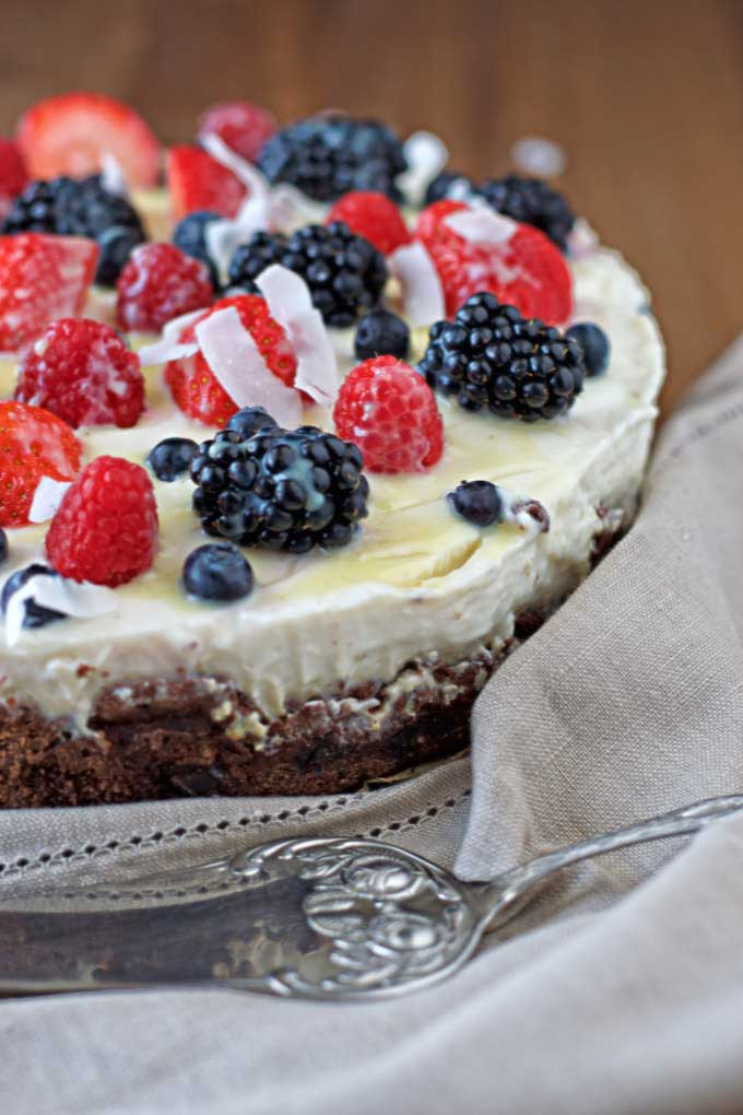 berry and coconut cream cake - contendedness cooking