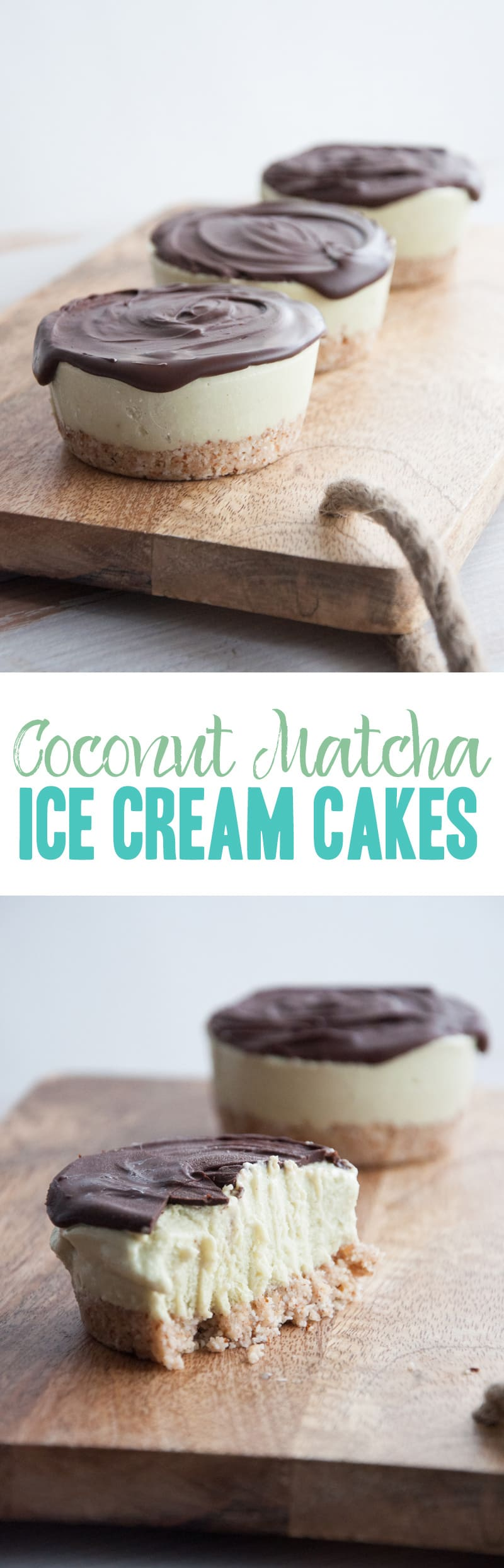 Vegan Coconut Matcha Ice Cream Cakes | ElephantasticVegan.com