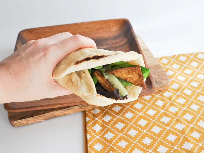 Vegan Crispy Tofu Wrap with homemade fluffy tortillas | ElephantasticVegan.com