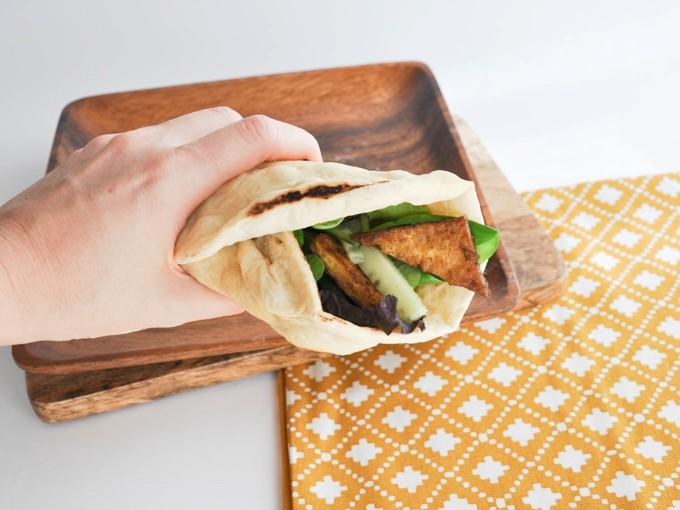 Vegan Crispy Tofu Wrap with homemade fluffy tortillas | ElephantasticVegan.com