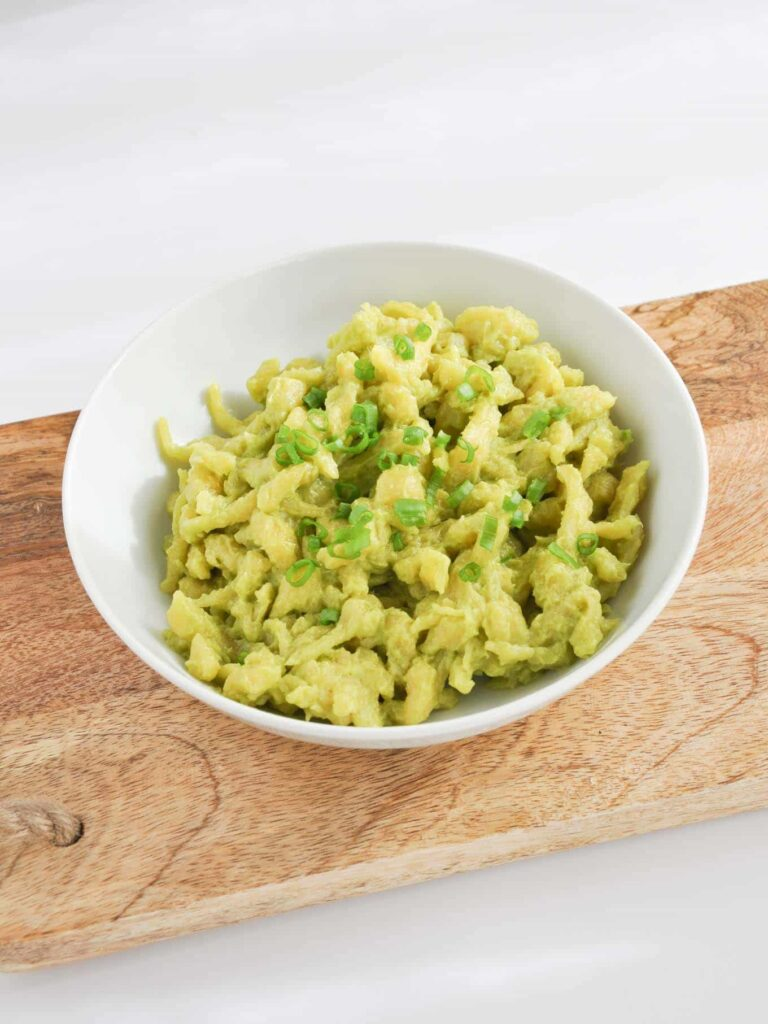 Eggy Spaetzle with creamy avocado sauce