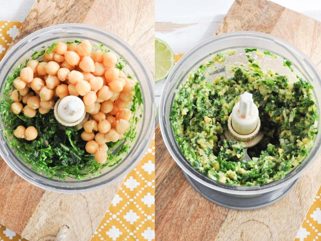 Green Falafel in a food processor
