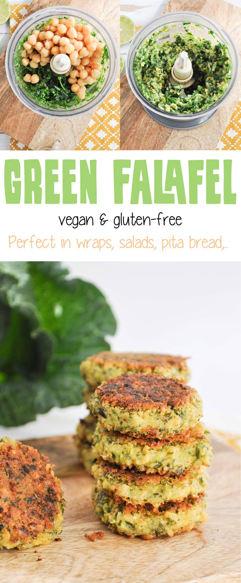 Vegan and gluten-free Green Falafel made with canned chickpeas #vegan #glutenfree #falafel