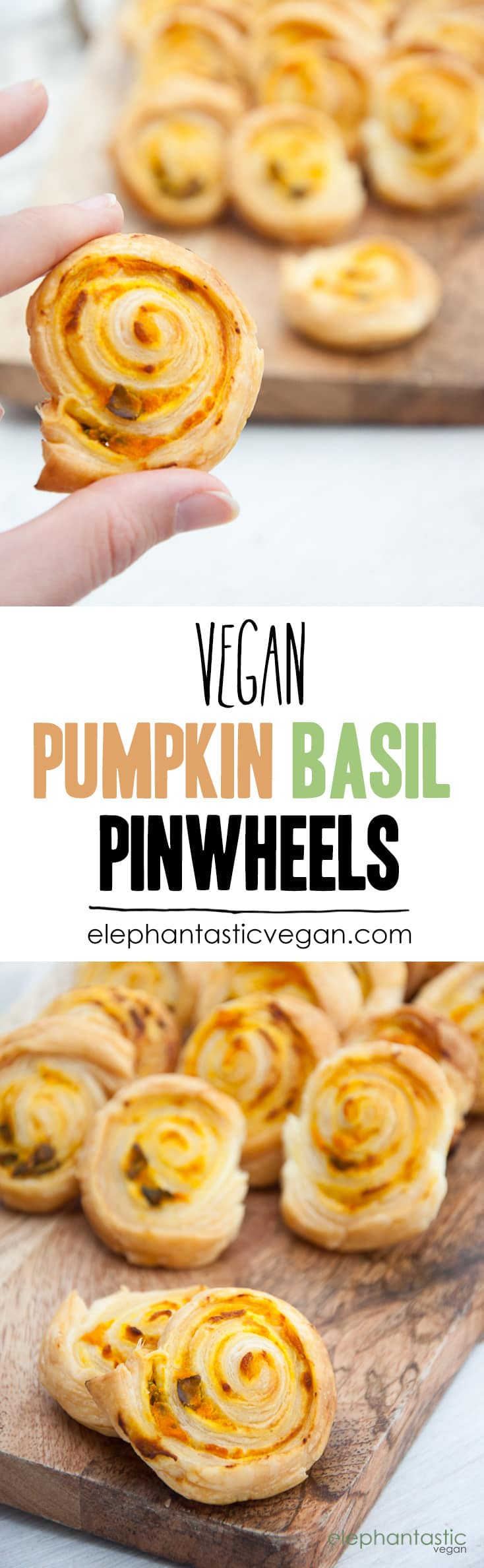 Vegan Pumpkin Basil Pinwheels | ElephantasticVegan.com