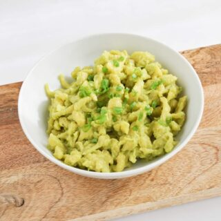 "Vegan ""Egg"" Spaetzle with a creamy Avocado Sauce"
