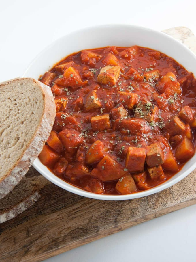 Vegan Goulash with Smoked Tofu and Potatoes with bread on the side