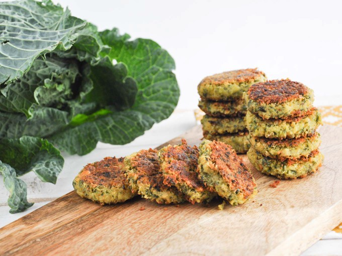 Homemade falafel with collard greens