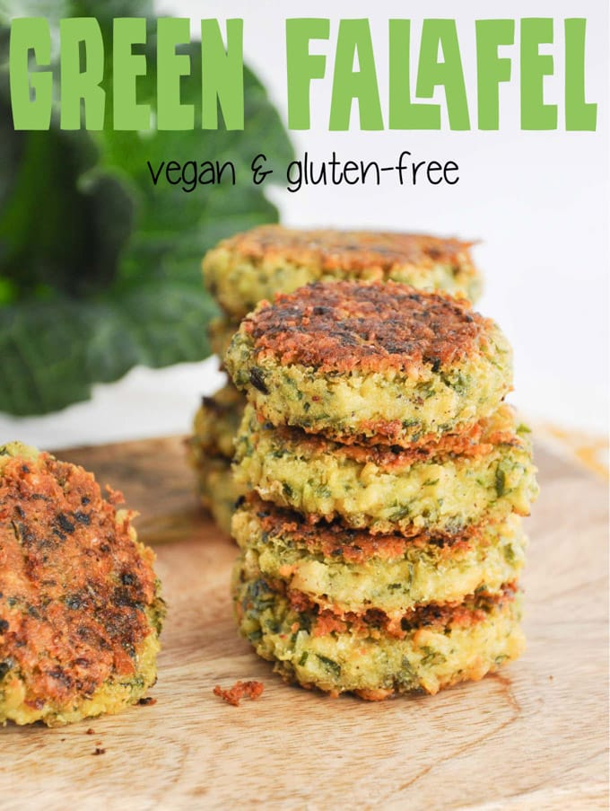 A stack of Green Falafel (vegan and gluten-free)