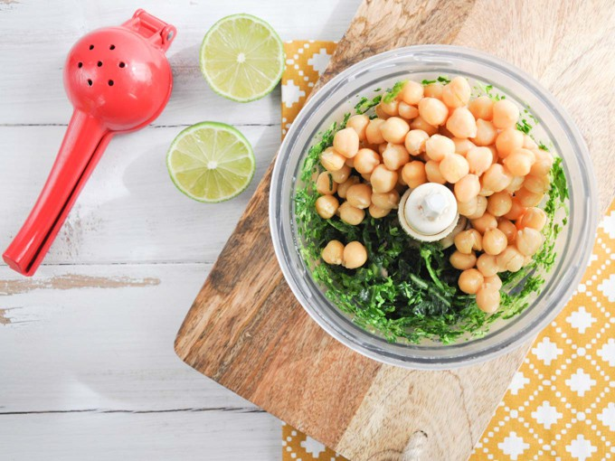 Chickpeas and collard greens in a food processor - making green falafel