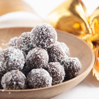 No-Bake Marzipan Rum Balls + Holiday Cookie Party (vegan & gluten-free)