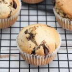 Vegan Chocolate Chunk Muffins on a cooling rack