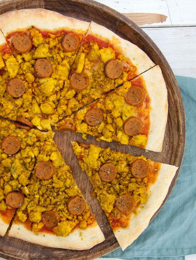 Vegan Breakfast Pizza with tofu scramble and seitan sausages