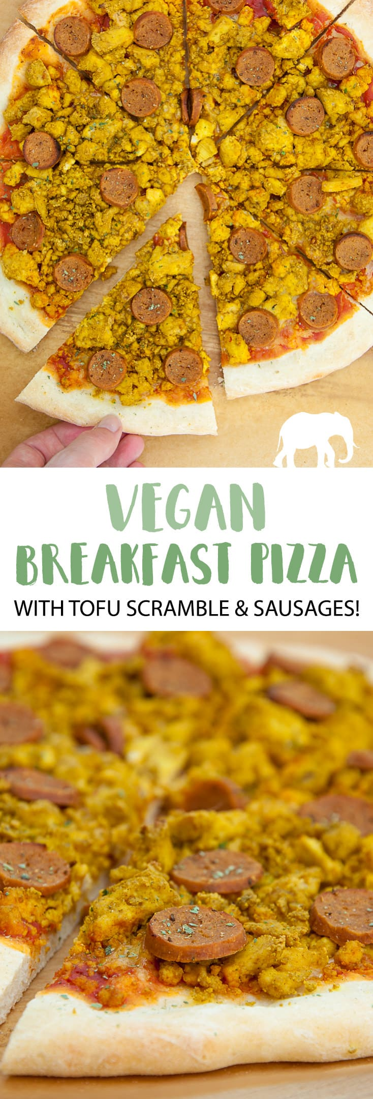 Vegan Breakfast Pizza with tofu scramble and seitan sausages #vegan #breakfast #pizza | ElephantasticVegan.com