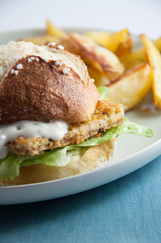 Vegan Fish Burger with homemade Pretzel Rolls | ElephantasticVegan.com