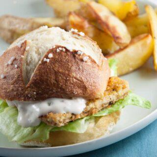 Vegan Fish Burger with homemade Pretzel Rolls