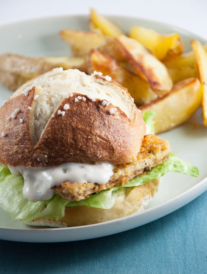 Vegan Fish Burger with homemade Pretzel Rolls