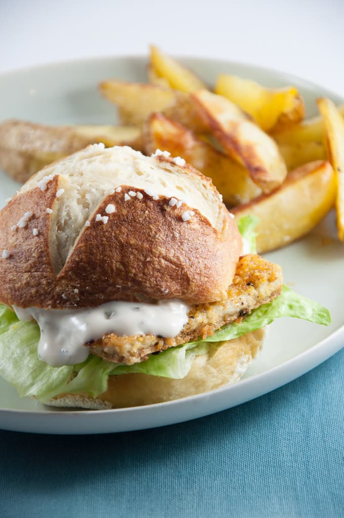 Vegan Fish Burger with homemade Pretzel Rolls ...
