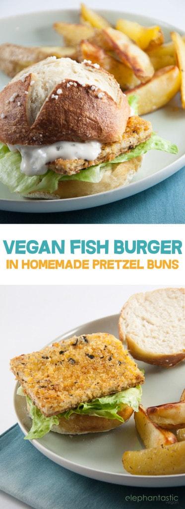 Vegan Fish Burger with homemade Pretzel Rolls | ElephantasticVegan.com