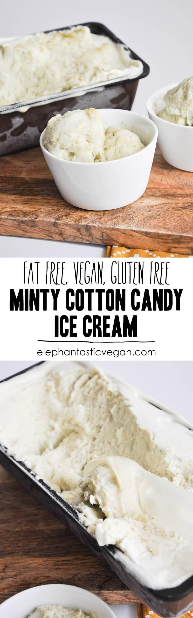 Minty Cotton Candy Ice Cream | ElephantasticVegan.com