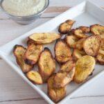 Oven-Baked Plantain Chips with a Cilantro Lemon Dip |ElephantasticVegan.com