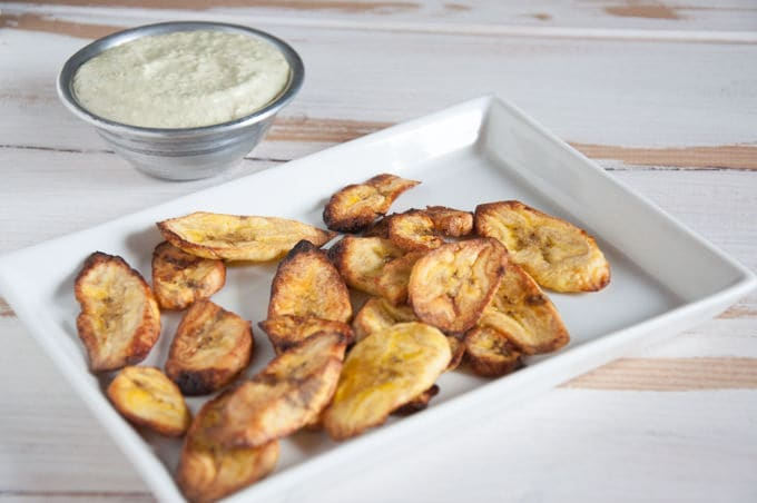 Oven-Baked Plantain Chips with a Cilantro Lemon Dip | ElephantasticVegan.com