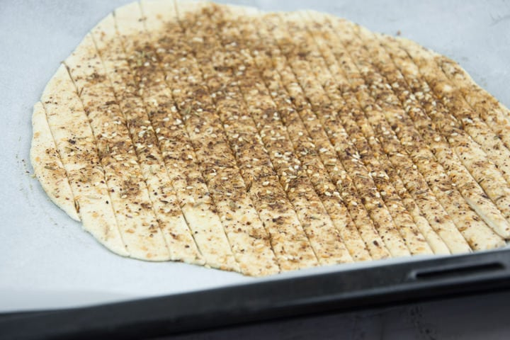 Vegan Za'atar Breadsticks on a baking sheet before baking