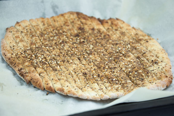 Vegan Za'atar Breadsticks on a baking sheet after baking