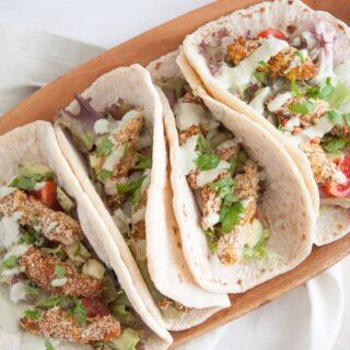 Vegan Chicken Tacos with a Cilantro Coconut Sauce