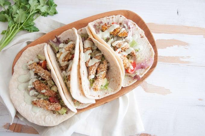 Vegan Chicken Tacos with a Cilantro Coconut Sauce | ElephantasticVegan.com
