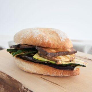 Mediterranean Veggie Sandwich with Smoked Tofu
