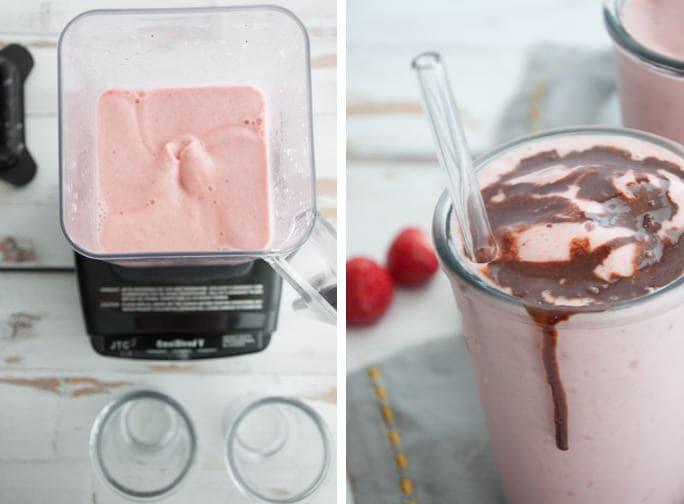 Strawberry Nice Cream Shake - vegan, gluten-free and refined sugar-free | ElephantasticVegan.com
