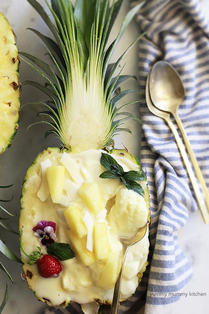 Pineapple Frozen Yoghurt Ice Cream - YummyMummyKitchen
