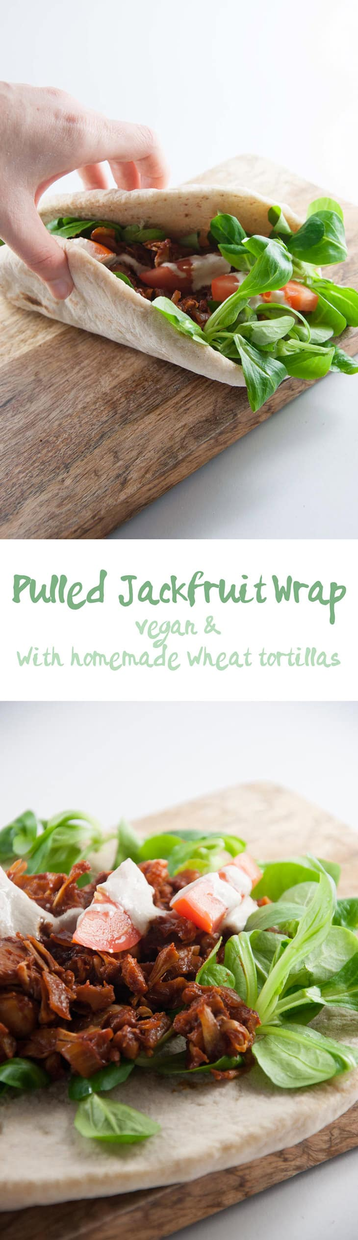 Pulled Jackfruit Wrap in thick, fluffy tortillas | ElephantasticVegan.com #vegan #jackfruit #pulled #wrap #dinner #lunch