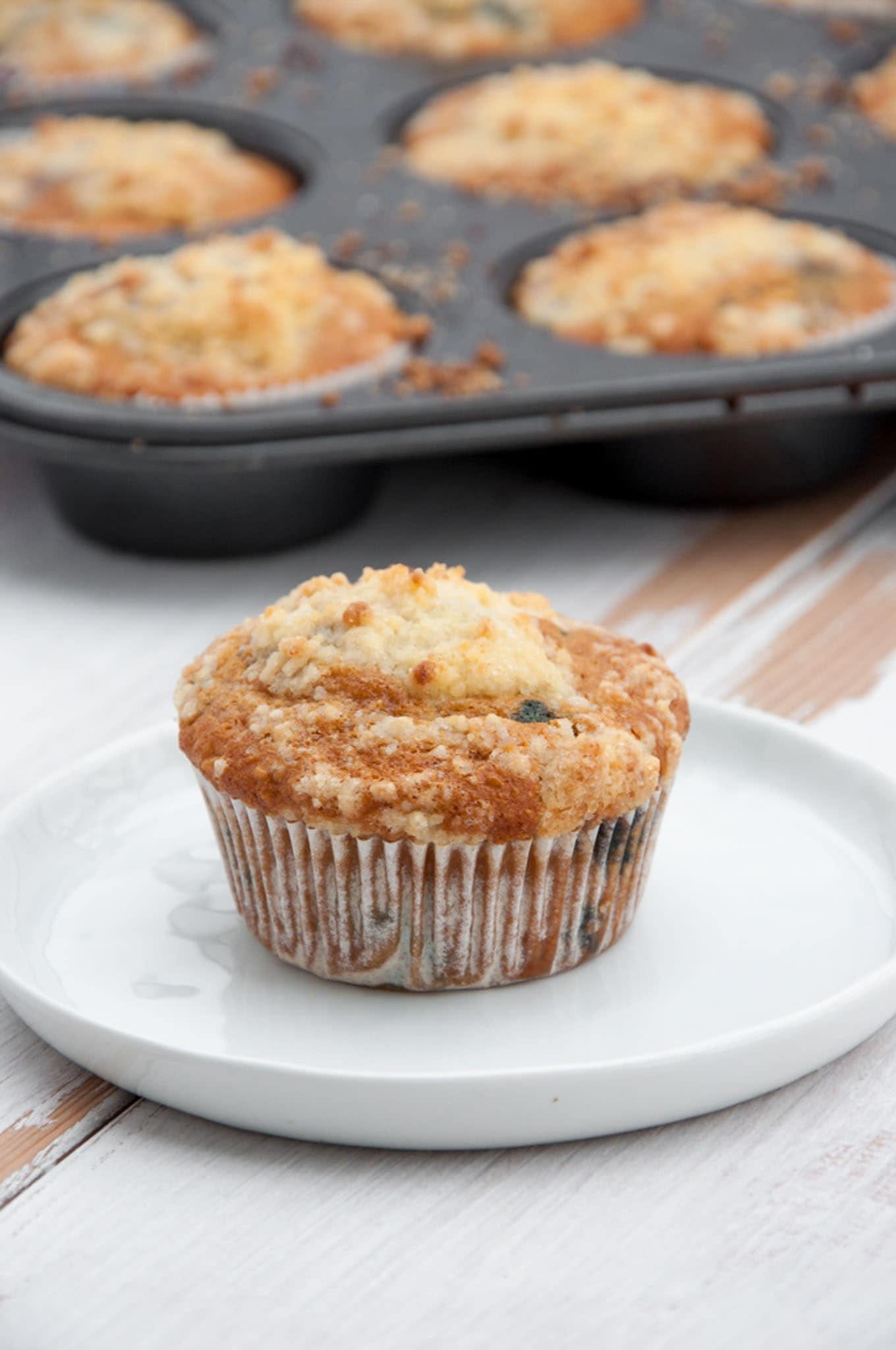 Vegan Blueberry Lemon Streusel Muffins