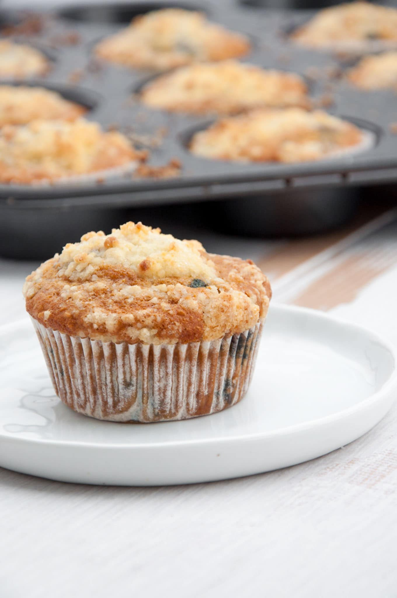 Vegan Blueberry Lemon Streusel Muffins
