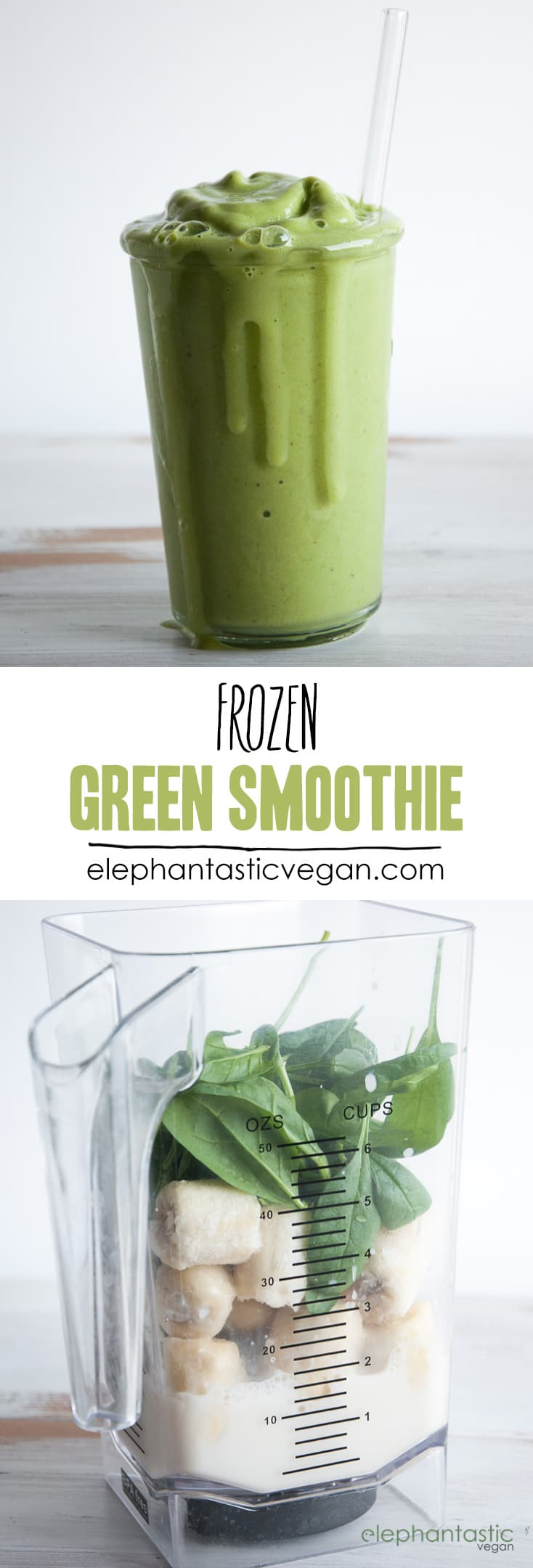 Frozen Green Smoothie | ElephantasticVegan.com
