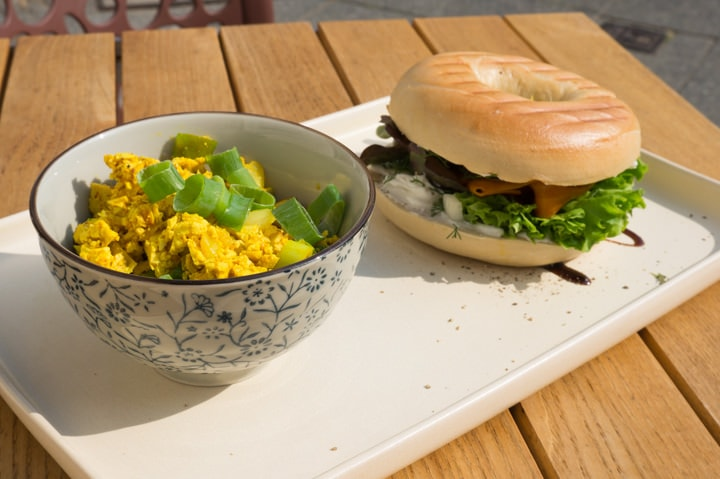 Tofu Scramble and Bagel at Plant Base