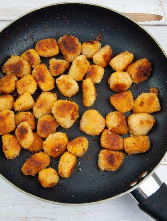 vegan pumpkin nuggets in pan