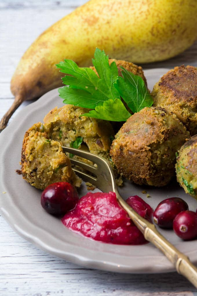 Festive Vegan Falafel with Cranberry Pear Dip - Vegan Heaven