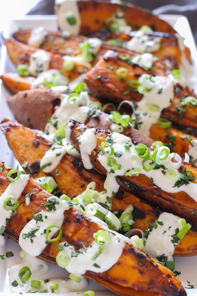 Roasted Yams with Lime Sunflower Seed Sauce - The Mostly Vegan