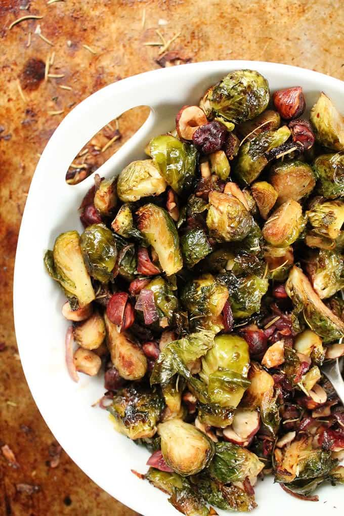Maple Balsamic Brussels Sprouts with Hazelnuts and Rosemary - My Darling Vegan