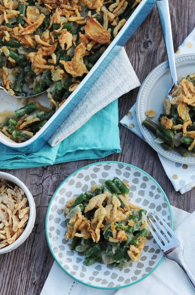 Vegan Green Bean Casserole - Fried Dandelions
