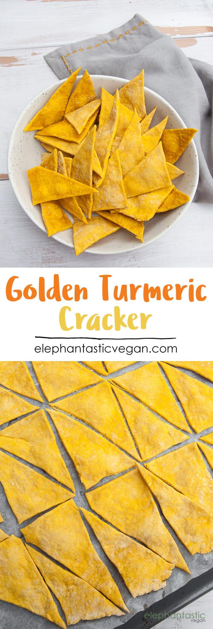 Golden Turmeric Cracker | ElephantasticVegan.com