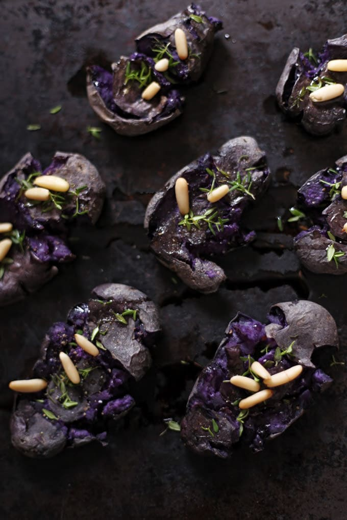 Smashed Purple Potatoes - Green Evi