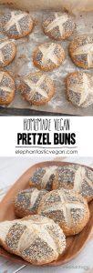 Homemade Pretzel Buns | ElephantasticVegan.com