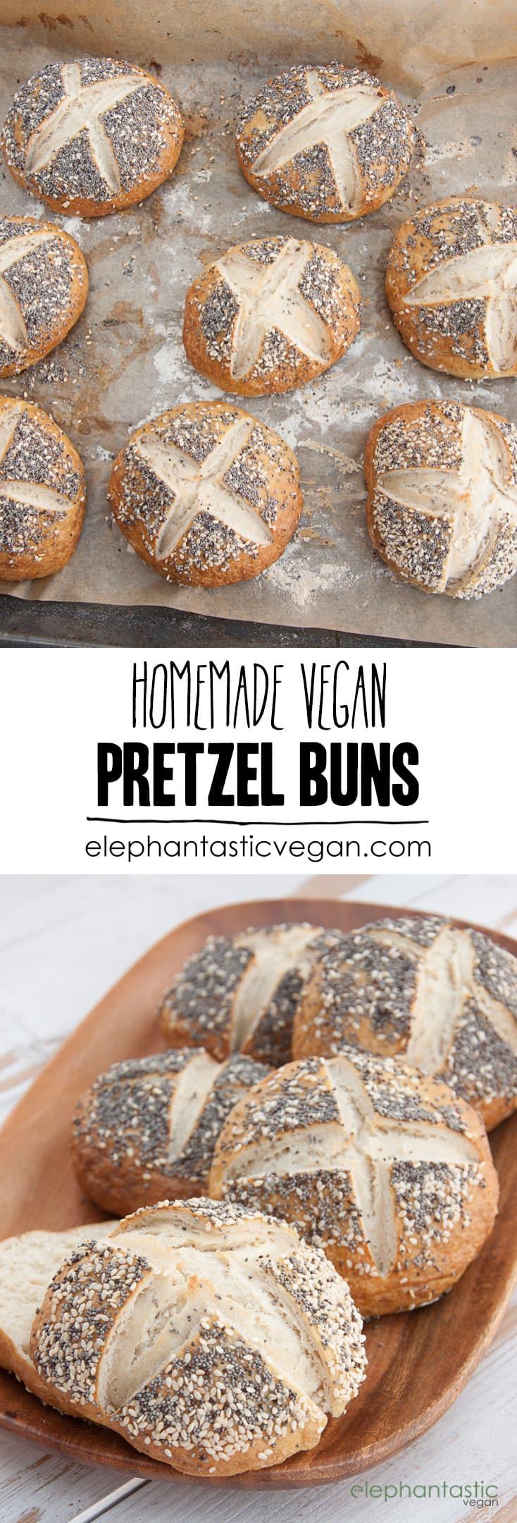 Homemade Vegan Pretzel Buns #vegan #pretzel #buns #burger #bread