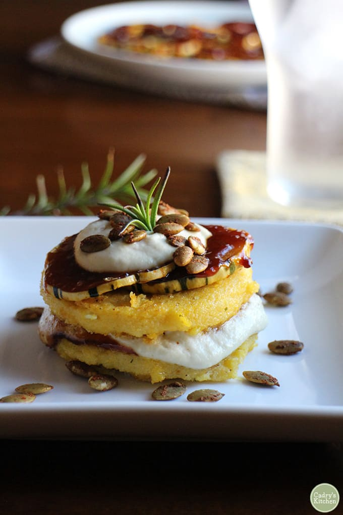 Polenta Stacks with BBQ Squash & Cashew Cream - Cadry's Kitchen