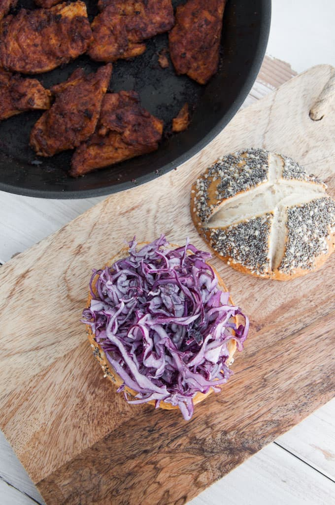 "Vegan ""Chicken"" Garlic Slaw Burger 